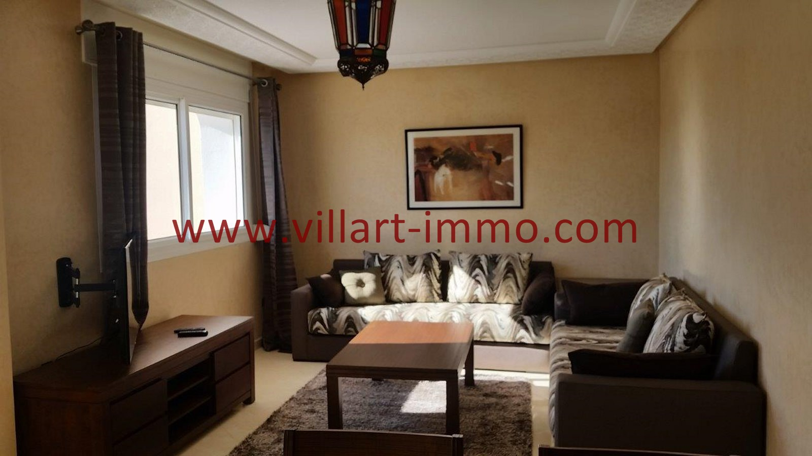 location appartement meubl tanger avec terrasse zone achakar villart. Black Bedroom Furniture Sets. Home Design Ideas